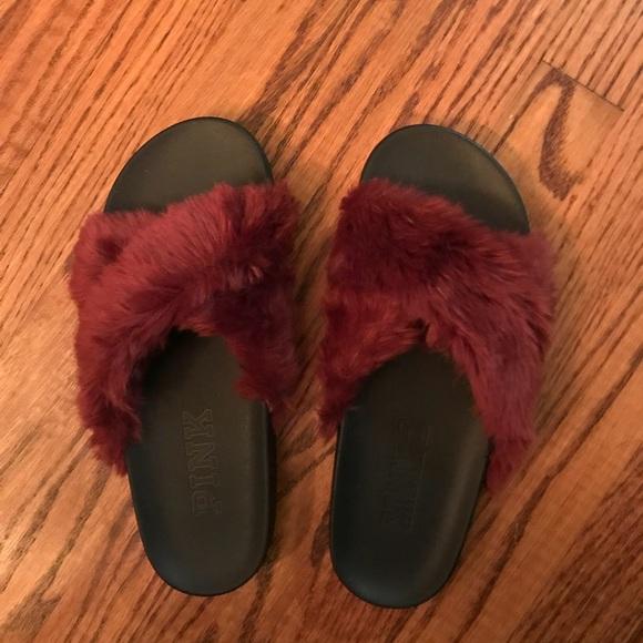 e7b84b044cd42 Pink Victoria Secret Faux Fur Criss Cross Slides
